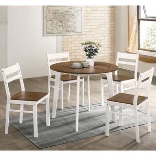 Furniture of America Hano Transitional Walnut 5-piece Dining Table Set