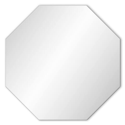 Frameless Hanging Octagon Wall Mirror Beveled Edge 24-inch - 24-inches