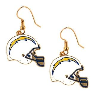 San Diego Chargers NFL Helmet Shaped J-Hook Gold Tone Earring Set Charm Gift
