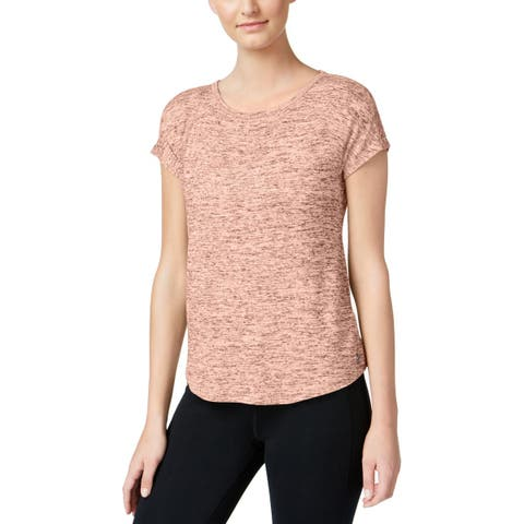 Calvin Klein Performance Womens Casual Top Marled Keyhole-Back