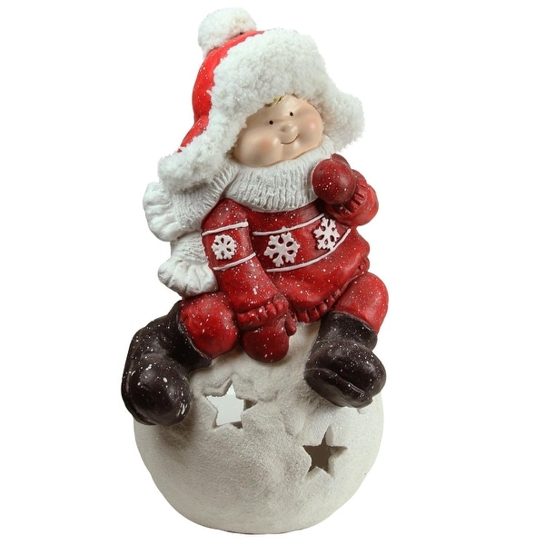 """19.25"""" Christmas Morning Boy on a Snowball Christmas Tealight Candle Holder - RED"""