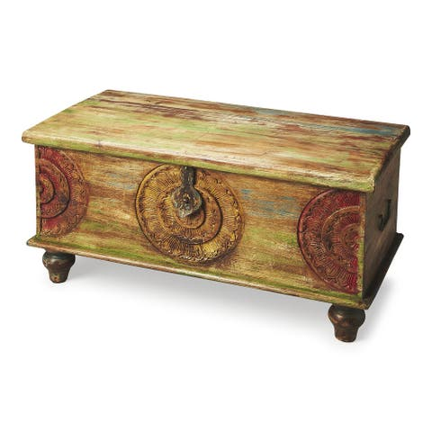 Mesa Carved Wood Trunk Coffee Table