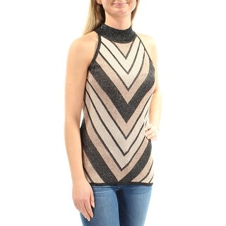 Womens Gold Sleeveless Crew Neck Casual Top Size L