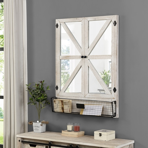 FirsTime & Co.® Percy Farmhouse Barn Door Mirror Organizer, American Crafted, Aged White, Mirror, 30 x 4.5 x 40 in. Opens flyout.
