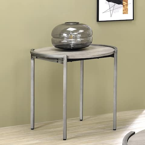 Furniture of America Rowland Light Grey Round Side Table