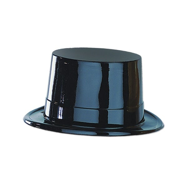 Club Pack of 24 Black Plastic Topper Party Hats Costume Accessories - N/A