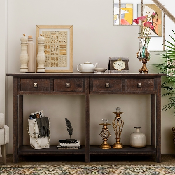 "26 Interesting Living Room Décor Ideas Definitive Guide: Shop Rustic Brushed Texture Entryway Table ""Console Table"