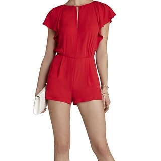 BCBG Max Azria NEW Red Women's Size 4 Ruffled Sleeve Keyhole Romper