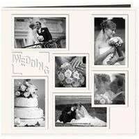 "Wedding - White - Sewn Embossed Collage Frame Post Bound Album 12""X12"""