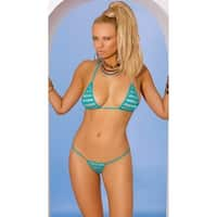 Blue Striped Tri Top And Thong - Turquoise - One Size Fits Most