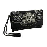 Rhinestone Skull Rainbow Sequin Trim Foil Finish Wallet w/Removable Straps