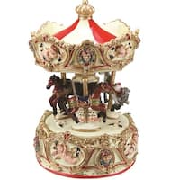 """6.25"""" Animated Musical Clown and Cupid Carousel with Canopy and 3-Horses Table Top Decoration - Gold"""