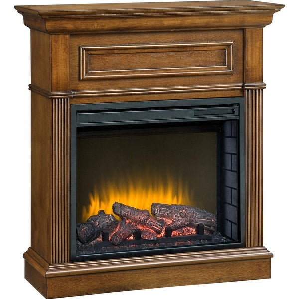 Pleasant Hearth 238-560-65 Hawthorne Heritage Compact Fireplace - 23 Inch Firebox - Brown