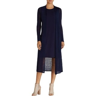 Eileen Fisher Womens Petites 288 Duster Sweater Hemp Open Front