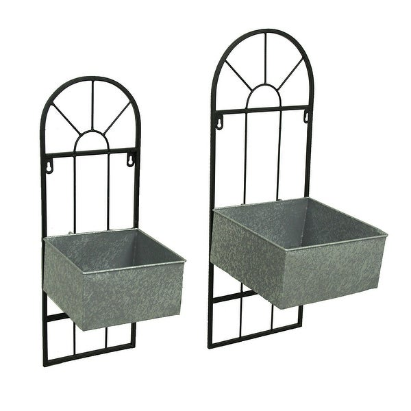 Shop Pair Of Wrought Iron And Galvanized Metal Wall Mounted Square
