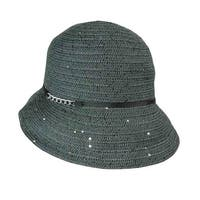 August Accessories Women's Chain Trim Sequined Cloche - Ivory - os