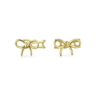 Bling Jewelry Gold Plated Modern Bow Sterling Silver Ear Cuff Wrap