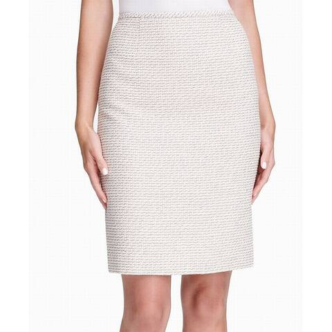 Calvin Klein Womens Skirt Beige Size 12P Petite Tweed Straight Pencil