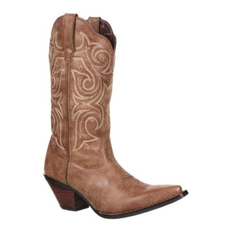 "Durango Boot Women's DCRD177 11"" Western Scalloped Crush Cinnamon Synthetic"