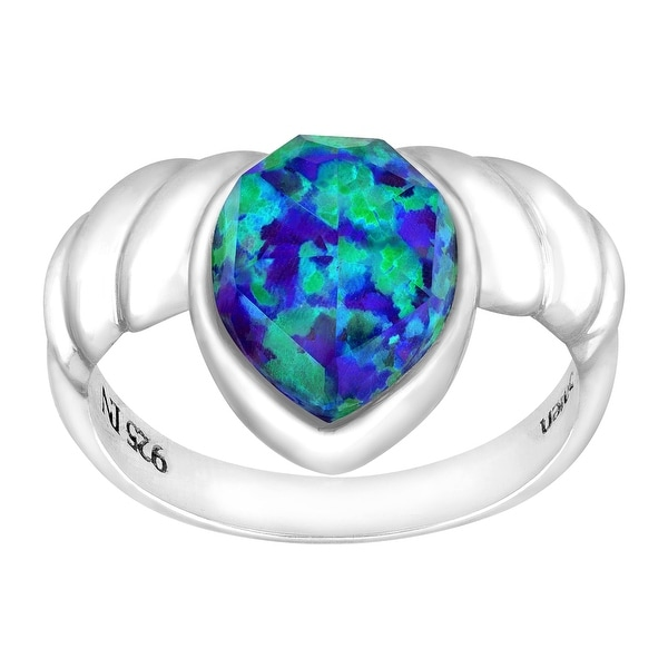 Sajen Lavender Opal Quartz Doublet Ring in Sterling Silver - Purple