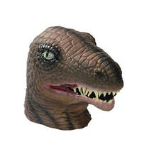 Latex Dinosaur Overhead Mask One Size - Brown