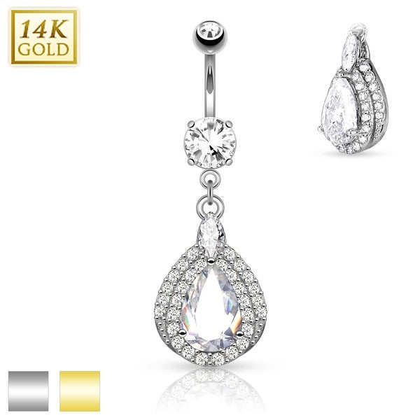 14Kt Gold Three Tiered Tear Drop Dangle with Micro Pave CZ Navel Ring - 14GA (Sold Ind.)