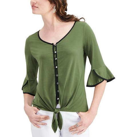 NY Collection Womens Petites Knit Top Piped Tie-front