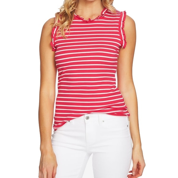 a20ad31fb88b6 Shop CeCe Viva Pink Women s Size XL Ruffle Trim Stripe Tank Cami Top - Free  Shipping On Orders Over  45 - Overstock - 27756754