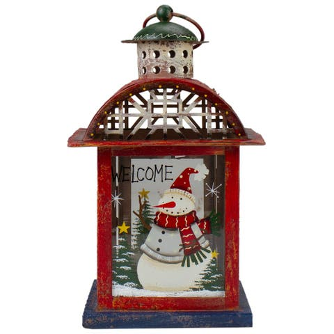 "Red, White and Gray Snowman ""WELCOME"" Christmas Lantern 9.75"""
