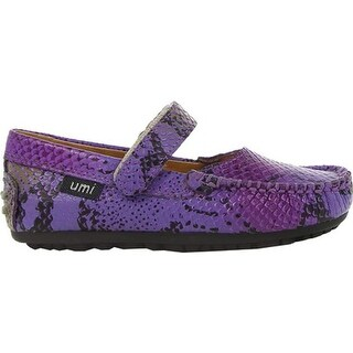 Umi Girls' Marvene Big Girl Mary Jane Purple Leather
