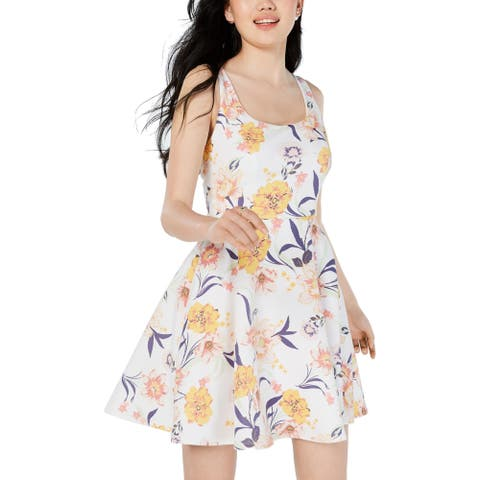 City Studio Womens Juniors Mini Dress Sleeveless Floral - Ivory/Mustard
