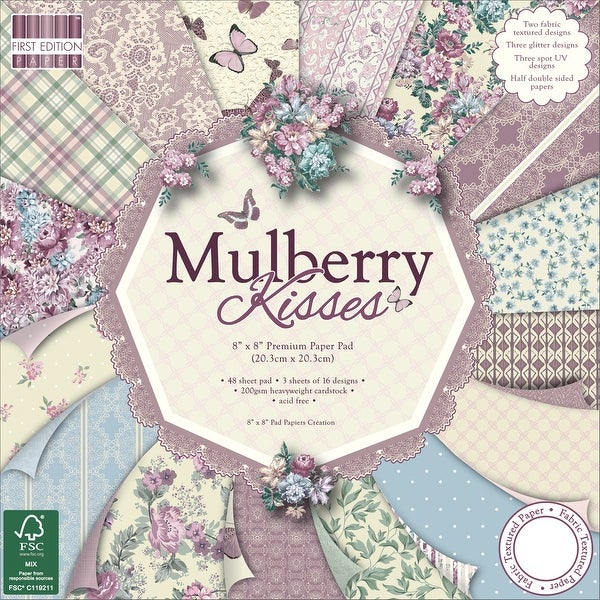 "First Edition Premium Paper Pad 8""X8"" 48/Pkg-Mulberry Kisses, 16 Designs/3 Each"