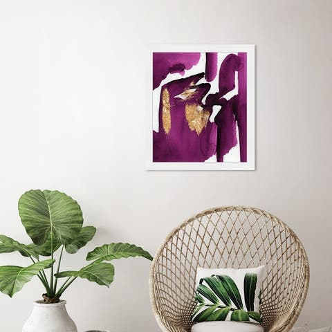 Oliver Gal 'Magenta Life' Abstract Wall Art Framed Print Paint - Purple, Gold