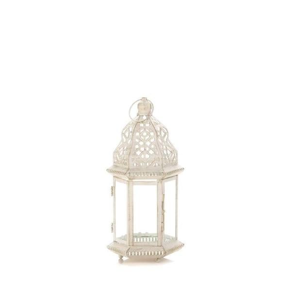 Indoor Small Distressed White Lantern
