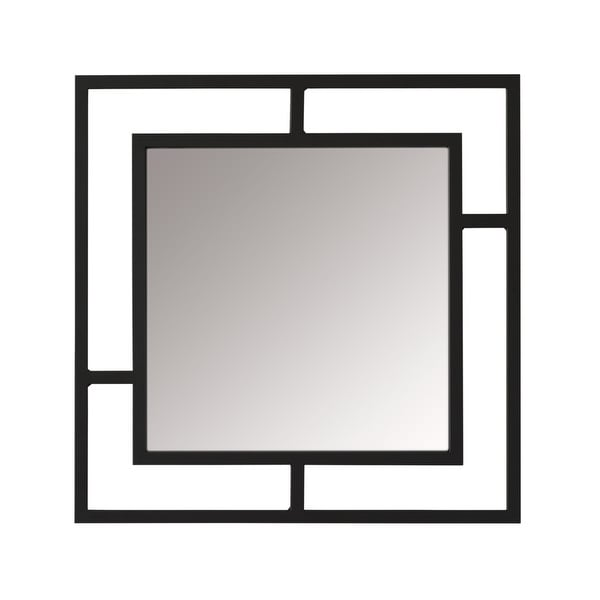 Offex Camber Powder Coated Steel Framed Decorative Square Mirror - Black