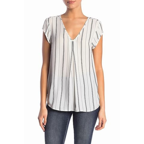 Halogen Women's Blouse White Black Size XS Double V-Neck Striped