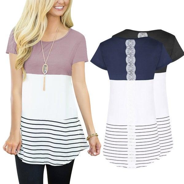 Round Neck Lace Stitched T-Shirt