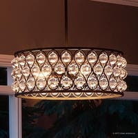 "Luxury Crystal Chandelier, 8""H x 19.5""W, with Moroccan Style, Drum Design, Parisian Bronze Finish"