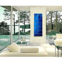 Statements2000 Blue Modern Contemporary Metal Wall Art Sculpture by Jon Allen - Cobalt Ripple