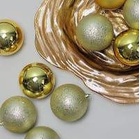 "12ct Shatterproof Vegas Gold 4-Finish Christmas Ball Ornaments 4"" (100mm)"