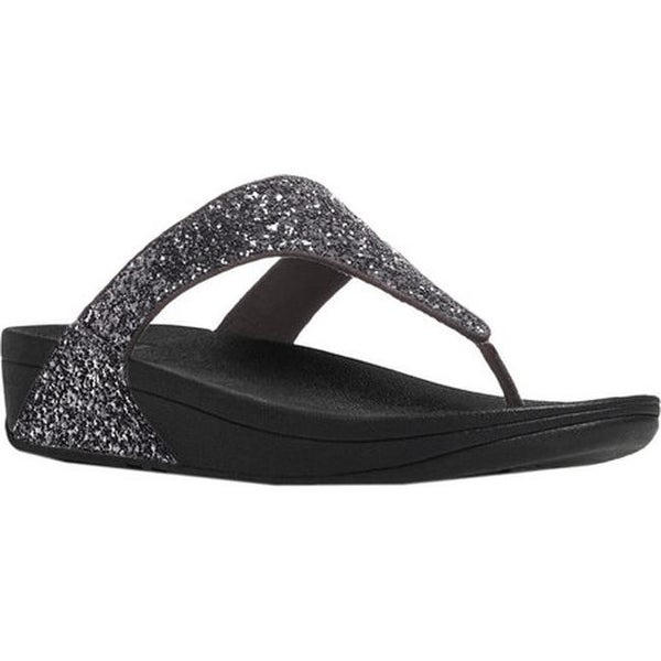 3873d7c56618 FitFlop Women  x27 s Glitterball Wedge Thong Sandal Pewter Imi-Leather  Glitter
