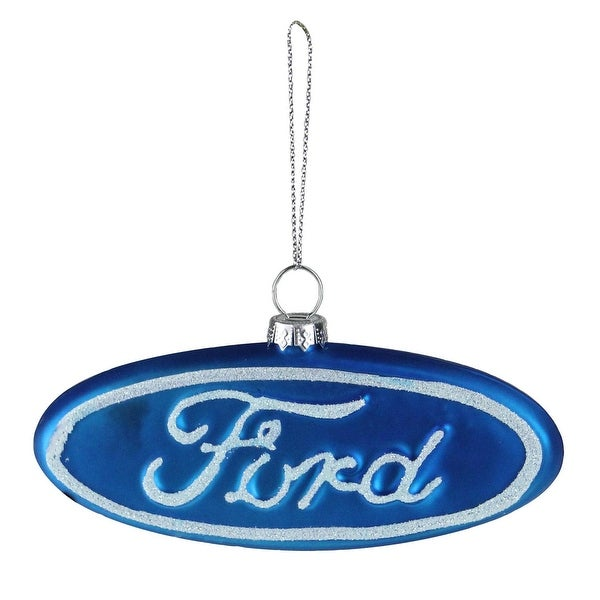 "5"" Blue and White ""Ford"" Logo Collectible Glass Christmas Ornament"
