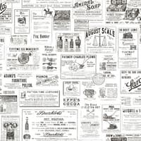 Brewster CTR64272 Adamstown Ivory Vintage Newspaper Wallpaper