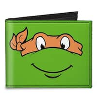 Classic Tmnt Michelangelo Face Close Up Green Orange Canvas Bi Fold Wallet One Size - One Size Fits most