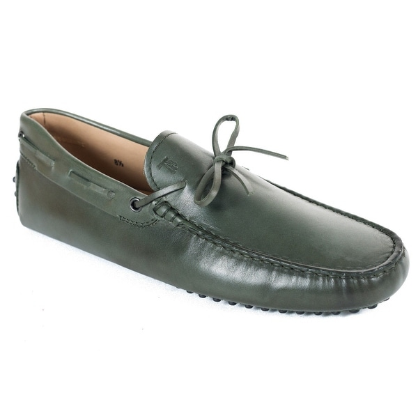 Shop Tods Mens Green Leather Gommini Driving Moccasins - Free ... 5ebc3f52c