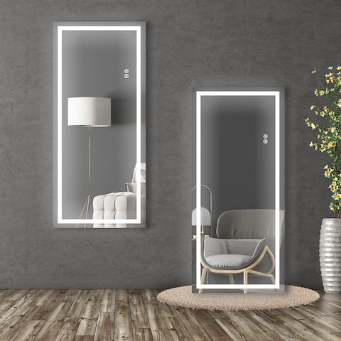 """ExBrite LED 48"""" Full Length Lighted Mirror,Wall Mounted Hanging,Dimmable Lights - 22x48"""
