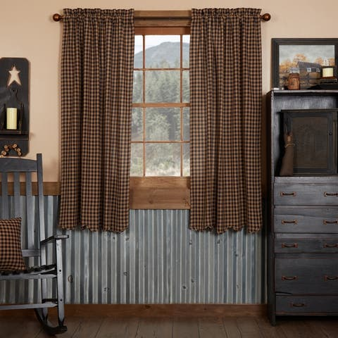 Primitive Curtains VHC Burgundy Check Short Panel 63x36 - Short Panel 63x36