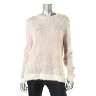 Three Dots Womens Silk Blend Colorblock Pullover Sweater - L