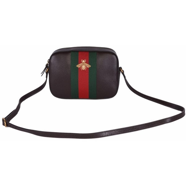 Shop Gucci Women\u0027s 412008 Brown Leather Red Green Web BEE