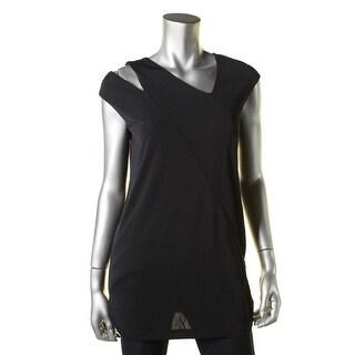 DKNY Womens Matte Jersey Asymmetric Tunic Top